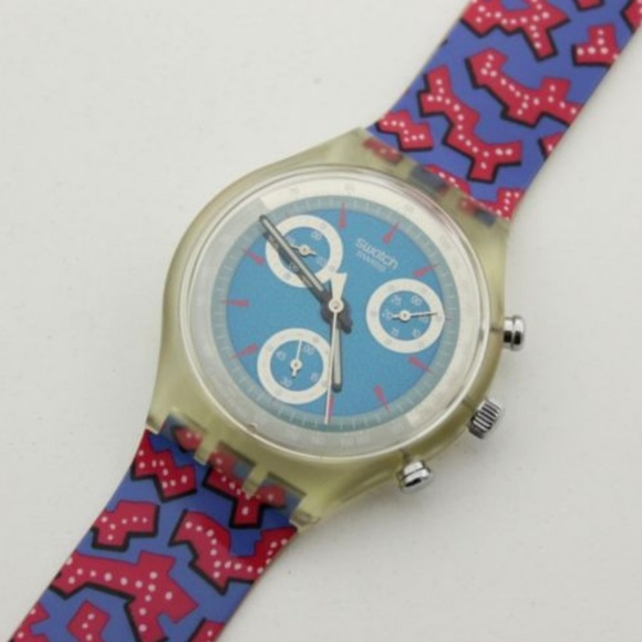 Swatch Other - Vintage 1993 Chrono Swatch Watch Wild Card SCK100